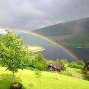 Rainbow over the lodges